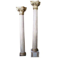 Columns  Pair of 18th C. French Fluted Corinthian Pillars NOW HAVE SAME BASES