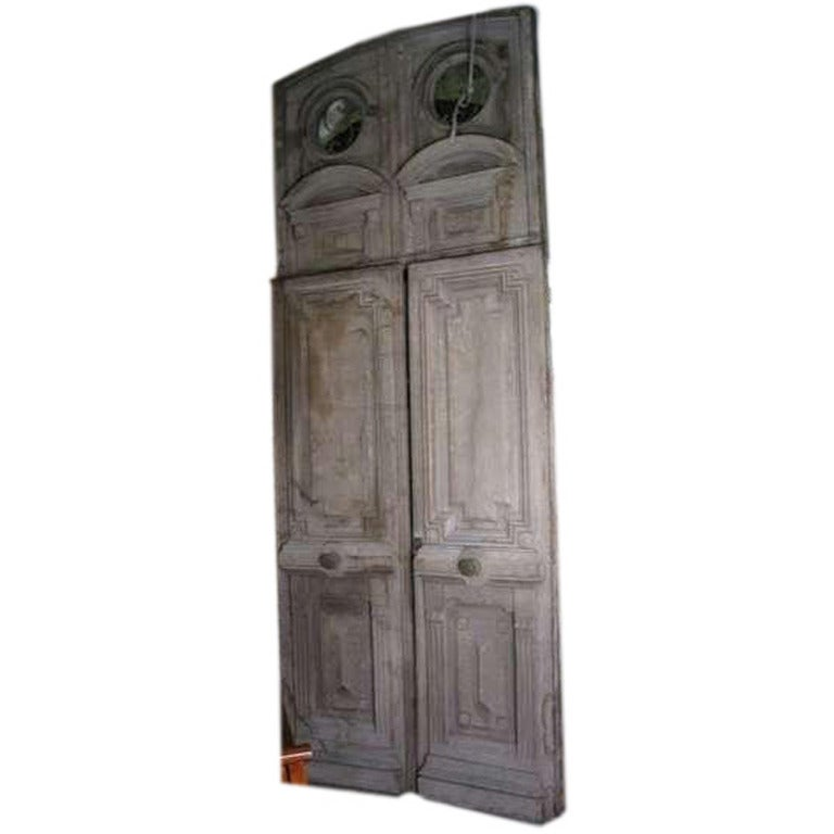 18th century french oak parisian entry way doors with for 4ft french doors exterior