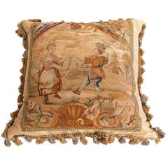 19th Century Tapestry Made into Pillow