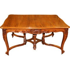 Table 19th Century Walnut Italian Dining Extends from the Center