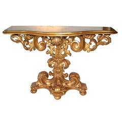Early 1800s Italian Gold Giltwood Console with Faux Marble Top