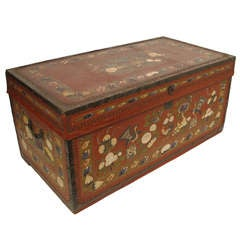19th Century China Trade Painted Leather Trunk