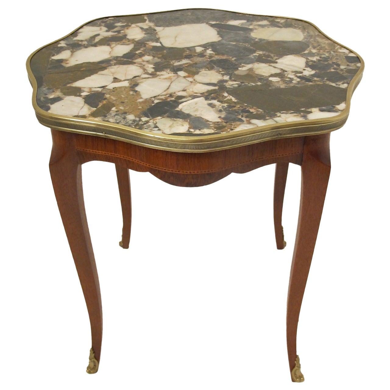 Italian Mahogany and Marble Side Table