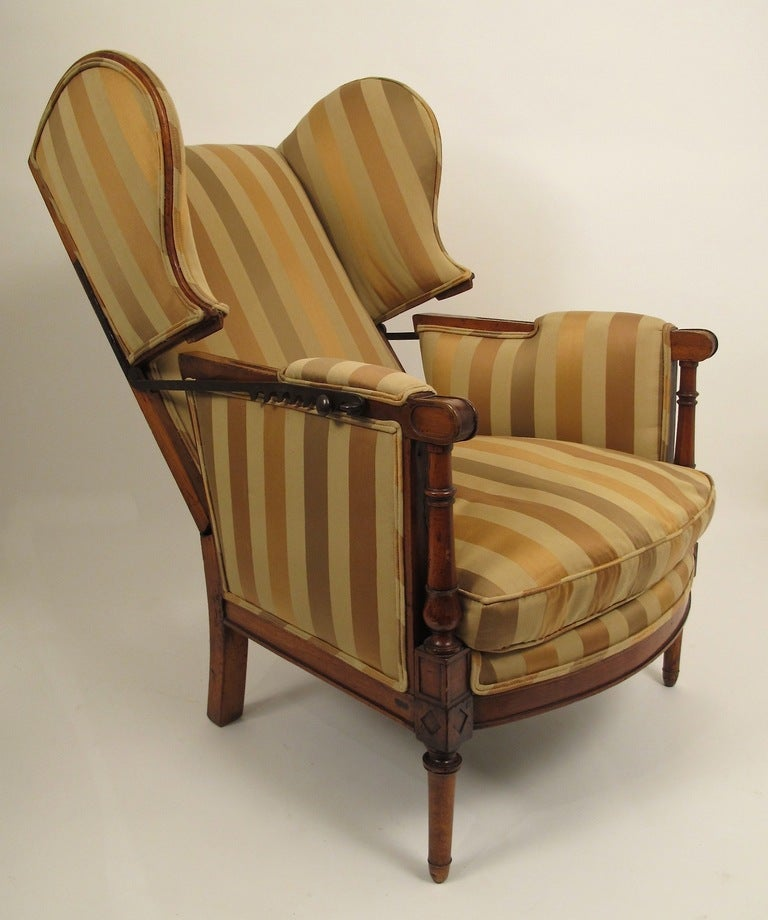 18thC French Regence Reclining Wing Chair at 1stdibs