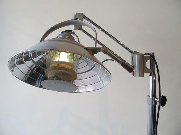 Adjustable operating room floor light.  Mid 20th century.