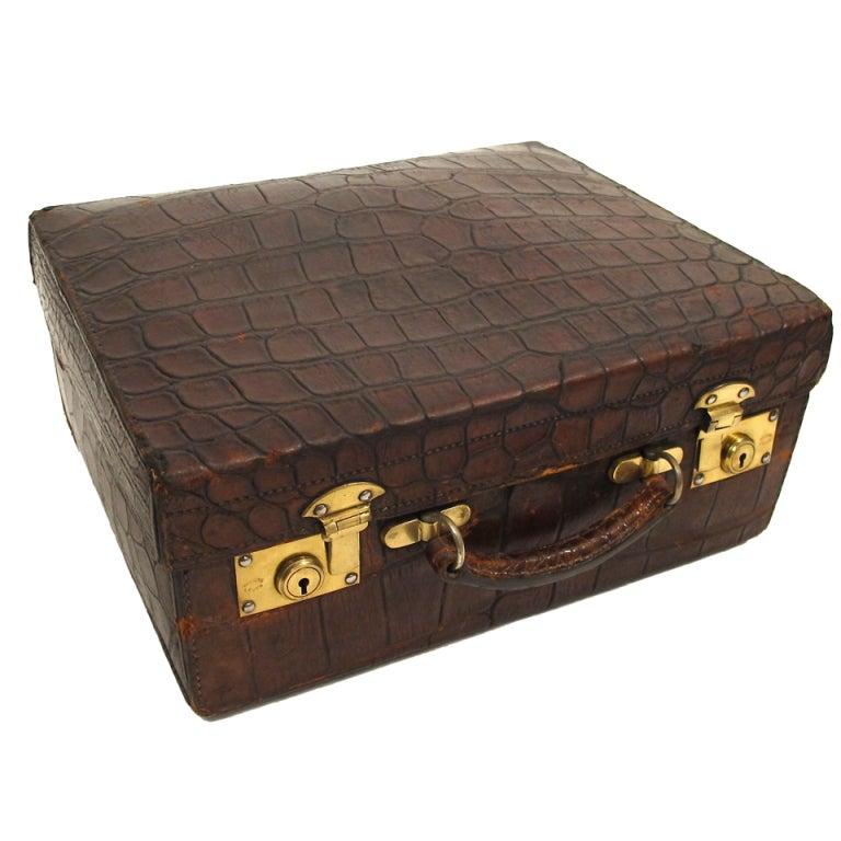 Antique Alligator Travel Case Luggage