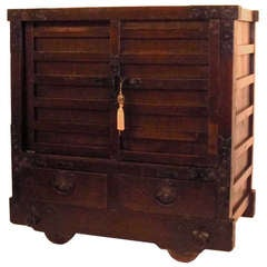 19th Century Japanese Wheeled Merchant Tansu Chest
