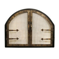 American Arts and Crafts Style Wrought Iron Fire Screen Insert