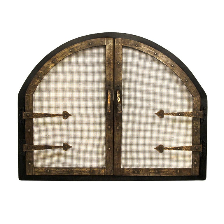 American Arts and Crafts Style Wrought Iron Fire Screen Insert For Sale