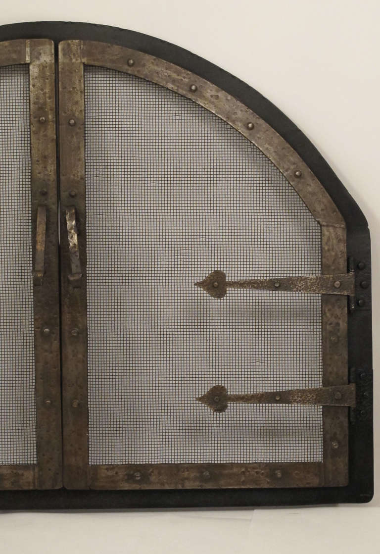 arts and crafts style wrought iron fire screen insert for