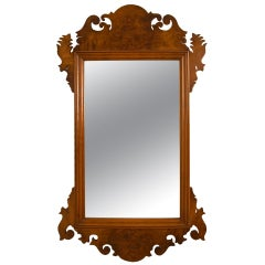 Chippendale Style Burled Walnut Mirror