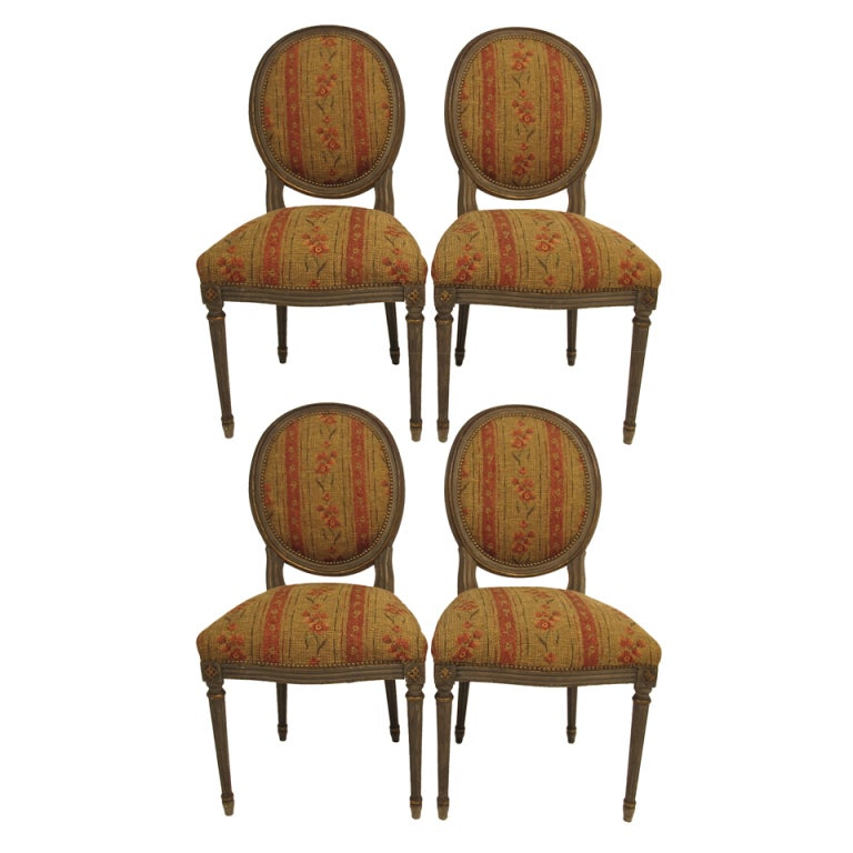 French Louis XVI Style Side Dining Chairs Set of Four For Sale