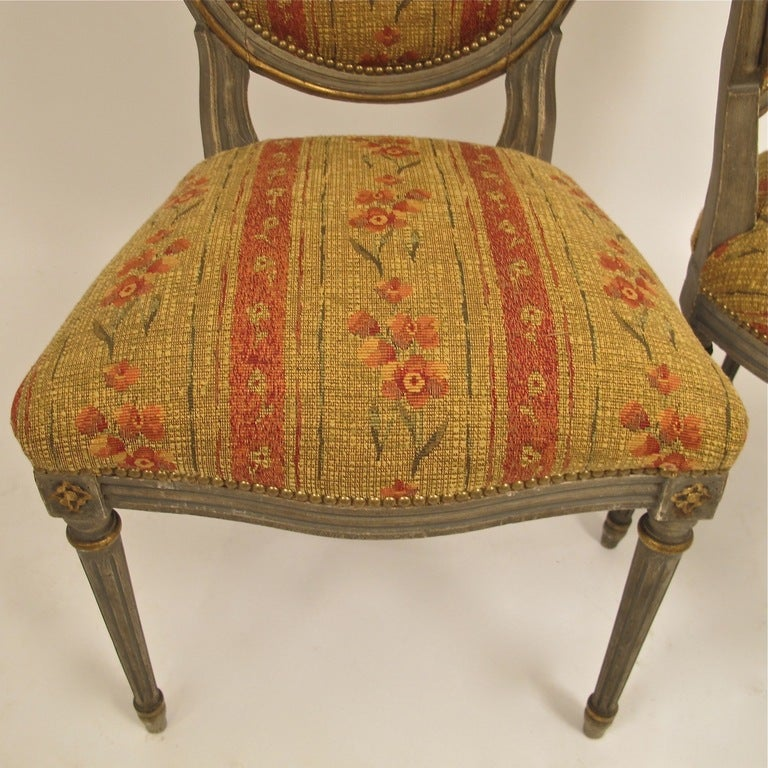 Wood French Louis XVI Style Side Dining Chairs Set of Four For Sale