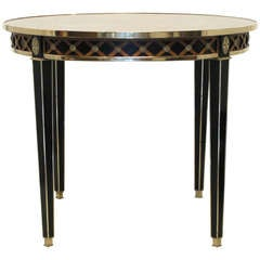 Neoclassical Round Marble Top Table