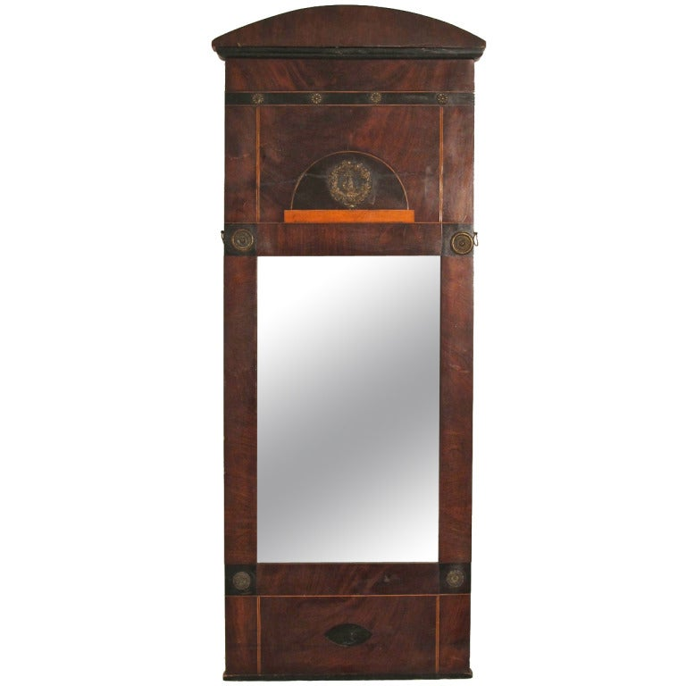 19th Century Mahogany Empire Biedermeier Mirror