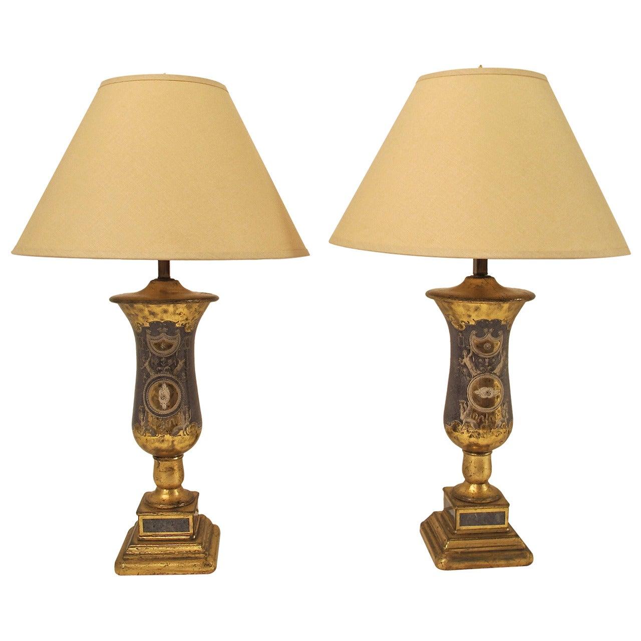 Pair of Italian Églomisé Lamps