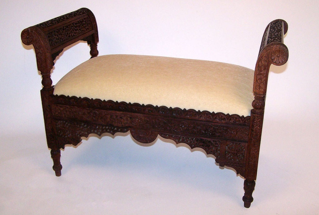 Anglo indian carved wood bench at stdibs