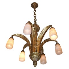 Large Art Deco Bronze and Alabaster Light Fixture
