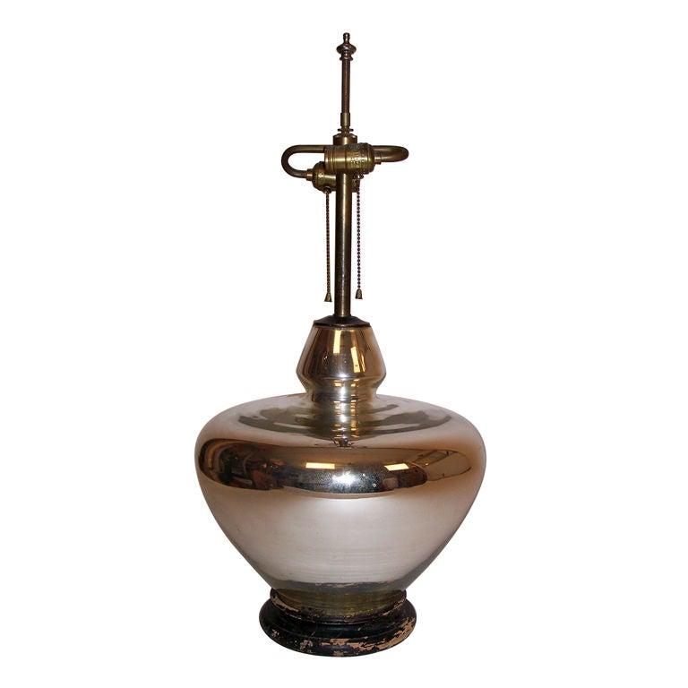 Large Vintage Mercury Glass Lamp At 1stdibs