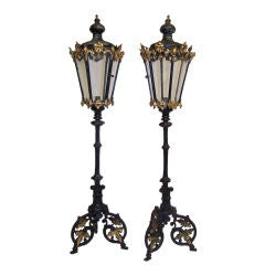 Highly Unusual Pair of 19thC Candle Lanterns