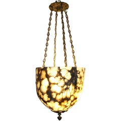 Large Hand-Carved Alabaster Light Fixture with Antique Bronze Hardware