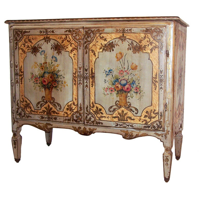 Extraordinary 18th c painted buffet at 1stdibs for Antique furniture and decoration accessories