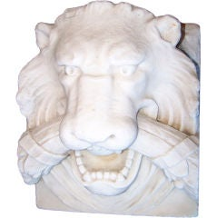 19th Century Marble Lion Architectural Element