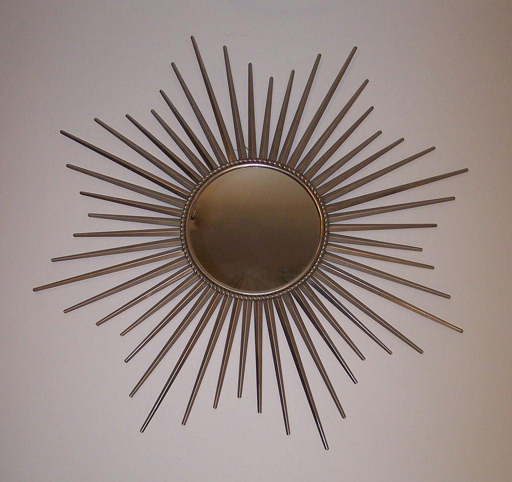Large stainless steel sunburst mirror at 1stdibs for Sunburst mirror