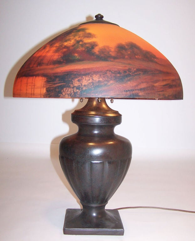 American Handel Reverse Painted Lamp For Sale