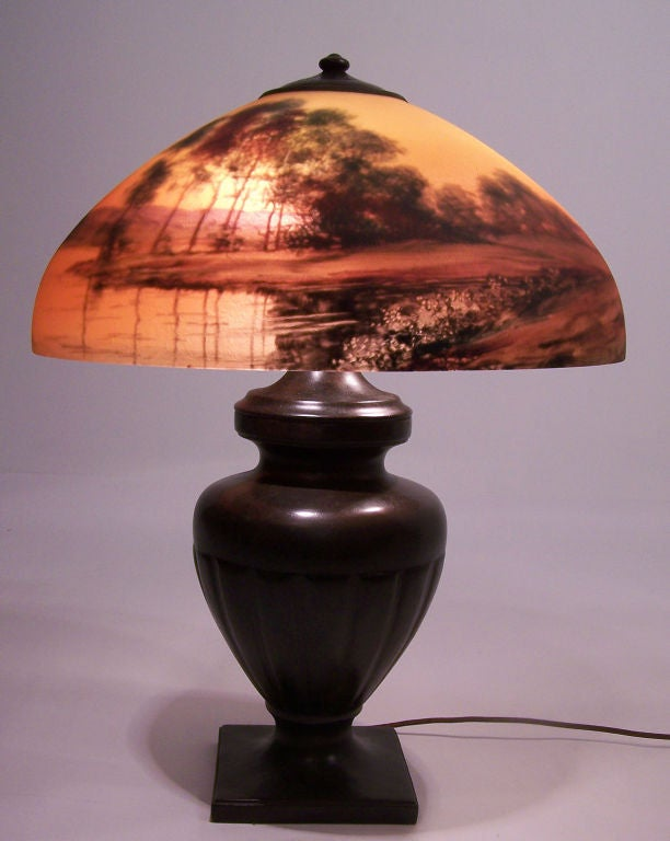 Bronzed Handel Reverse Painted Lamp For Sale