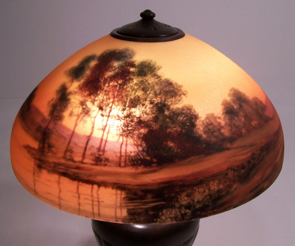 Handel Reverse Painted Lamp In Good Condition For Sale In San Francisco, CA
