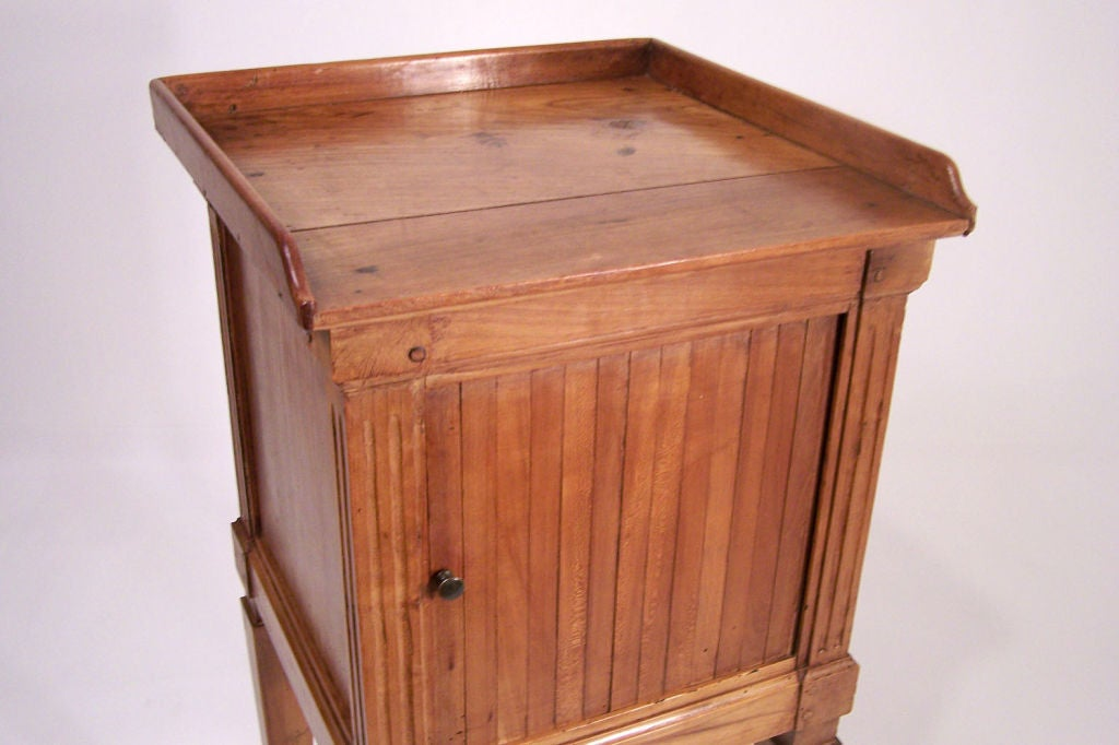 Polished Neoclassical Cherrywood Bedside Table Cabinet, French, Late 18th Century For Sale