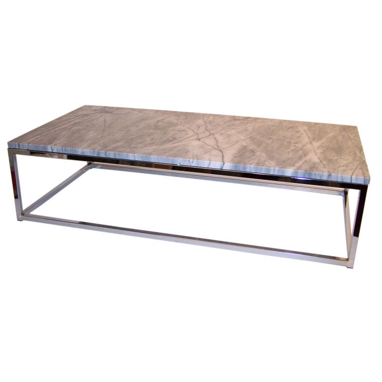 modern chrome and marble coffee table at 1stdibs