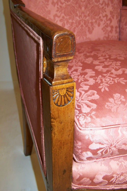 Carved 18th Century French Bergere Chair For Sale