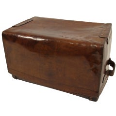 Large English Leather Touring Trunk 19th Century