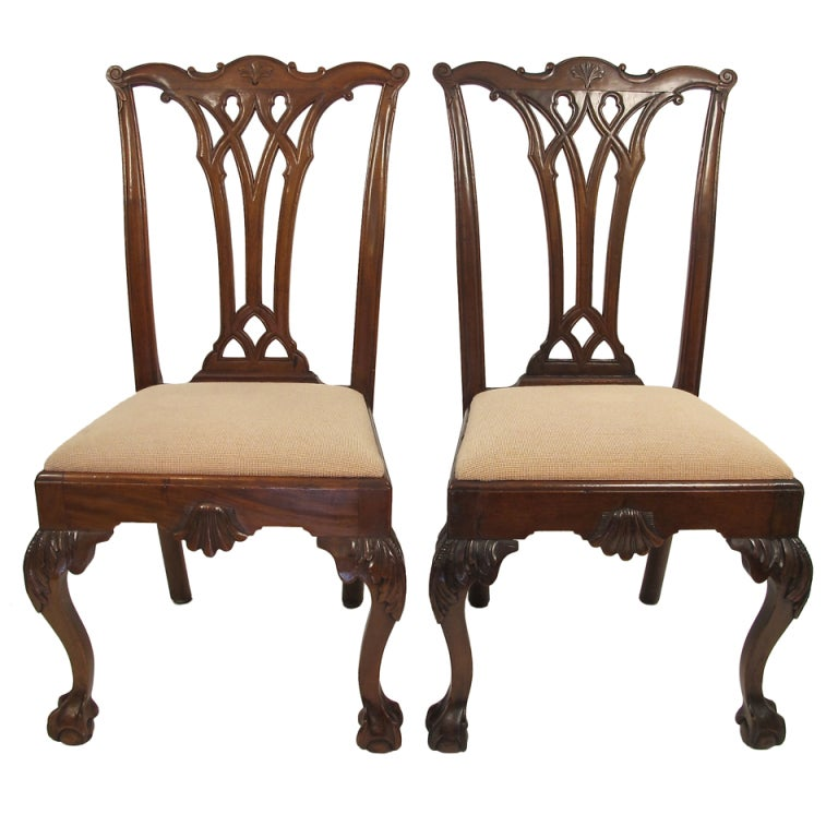 Chippendale Dining Room Chairs: Set Of Four Chippendale Dining/Side Chairs At 1stdibs
