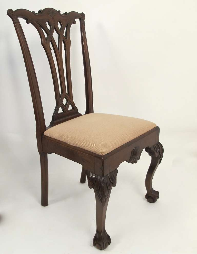 Set Of Four Chippendale Dining Side Chairs At 1stdibs