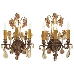 French Amethyst Glass And Brass Wall Sconces