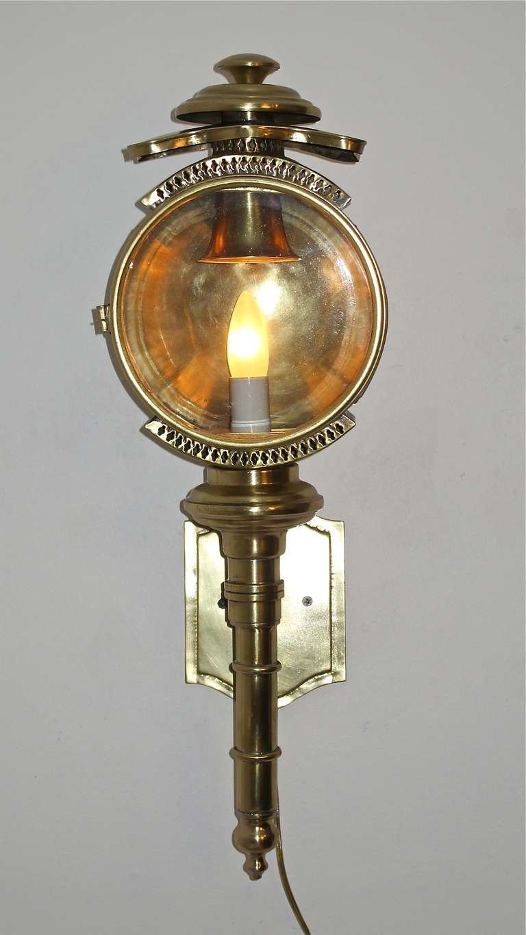 Brass Wall Sconces Lighting : Brass Carriage Lamp/Lantern/Sconce at 1stdibs