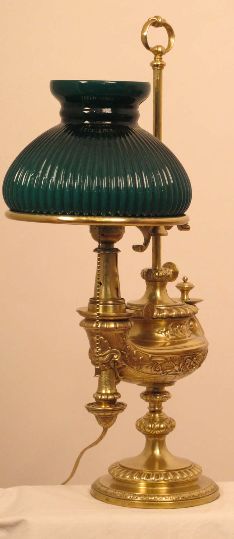 Brass Student Or Desk Lamp With Green Ribbed Shade At 1stdibs