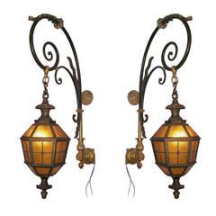 Large French Louis XVI Style Iron and Bronze Wall Lanterns, French circa 1860