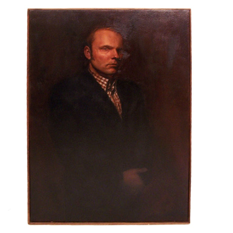 A large portrait of a gentleman, oil on canvas in simple wood frame. California artist, signed Z Zdrale in lower right hand corner. American, 20th century, 1960s.