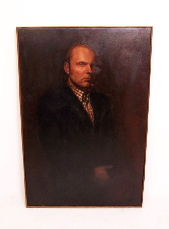 Mid-Century Modern Large Portrait of a Gentleman, American Mid-20th Century For Sale