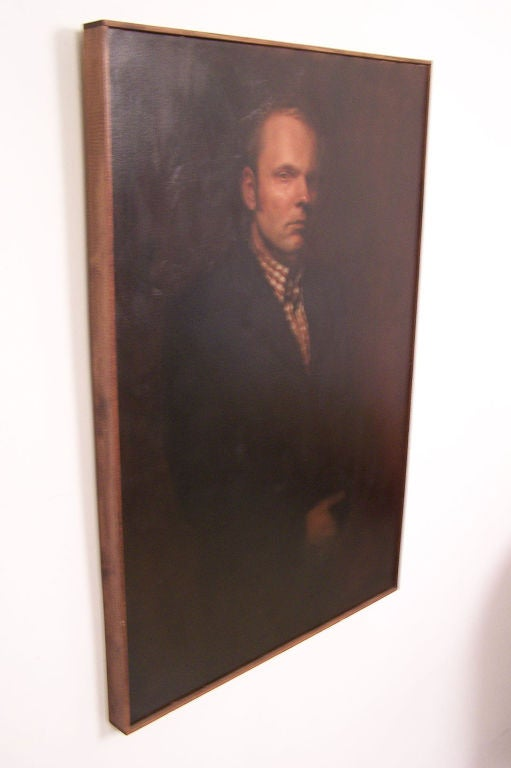 Hand-Painted Large Portrait of a Gentleman, American Mid-20th Century For Sale