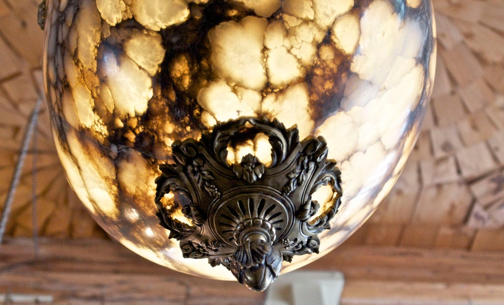 Organic Modern Hand-Carved Alabaster Light Fixture with Antique Bronze Hardware For Sale