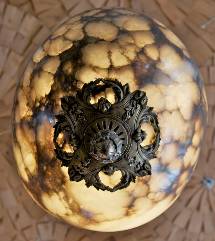 American Hand-Carved Alabaster Light Fixture with Antique Bronze Hardware For Sale