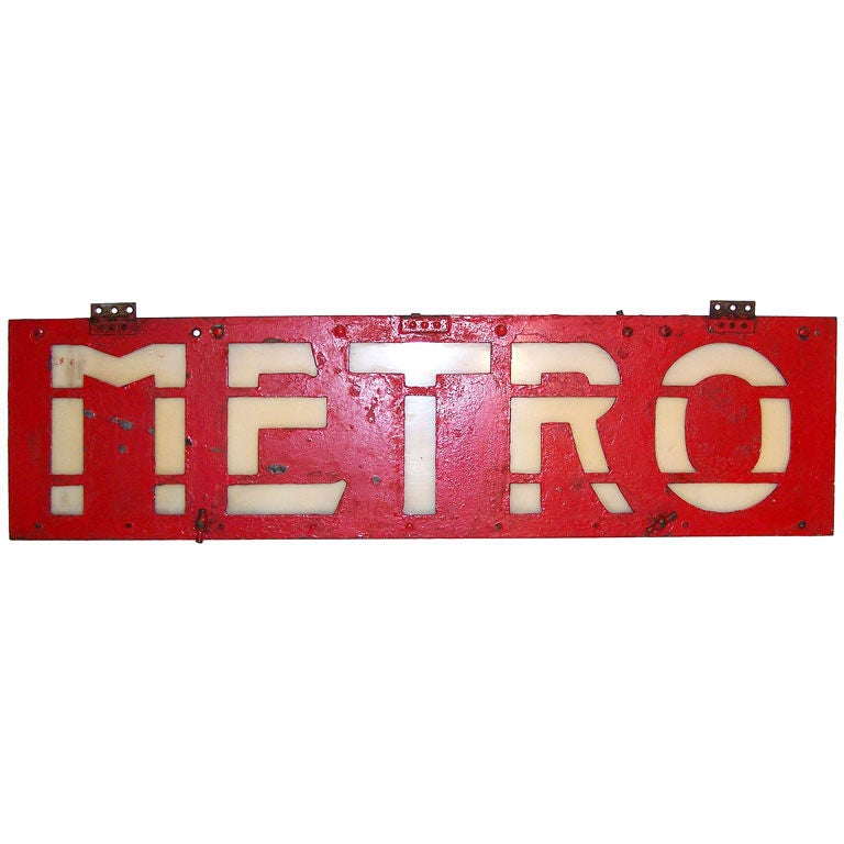 Antique French Metro Sign at 1stdibs