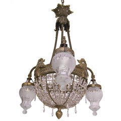 Brass, Cut Glass and Crystal Chandelier, French 19th Century