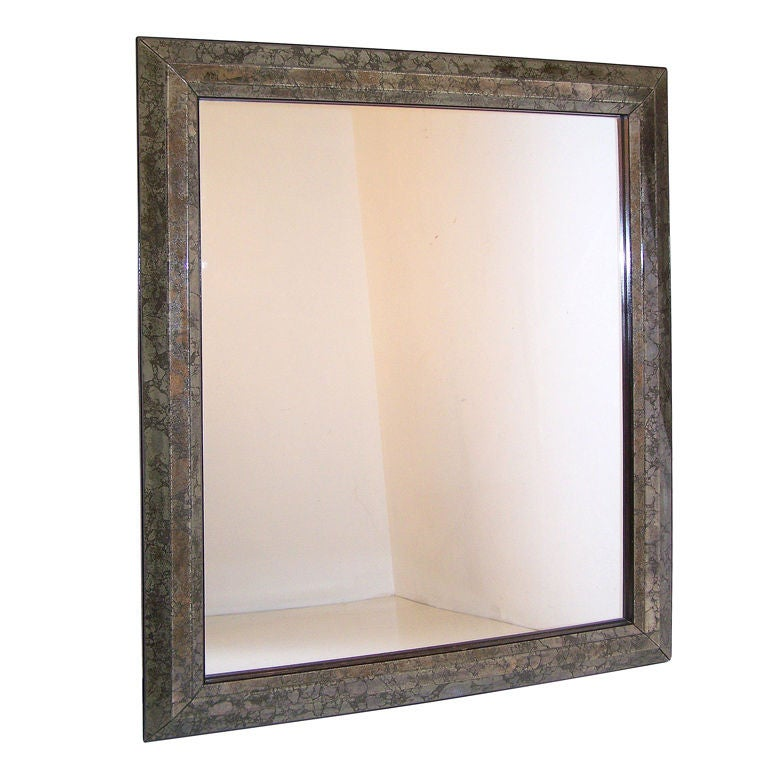 Large Mid Century Italian Marbleized Mirror For Sale