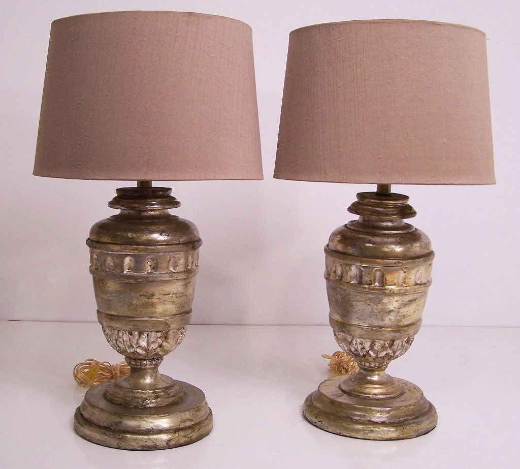 European 18th Century Silver Gilt Wood Urn Lamps For Sale